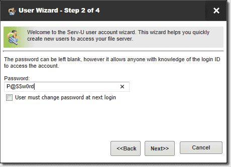 Create a user password for logging in