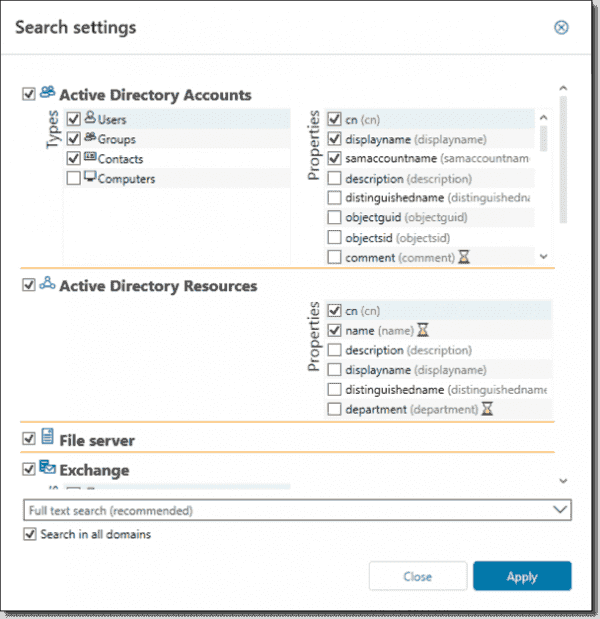 Customizing search settings for Access Rights Manager