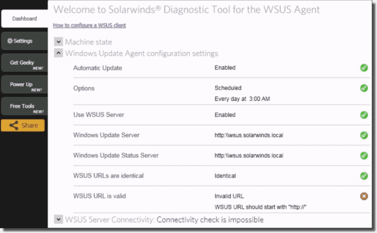 Fixing WSUS issues with the SolarWinds Diagnostic tool for the WSUS agent