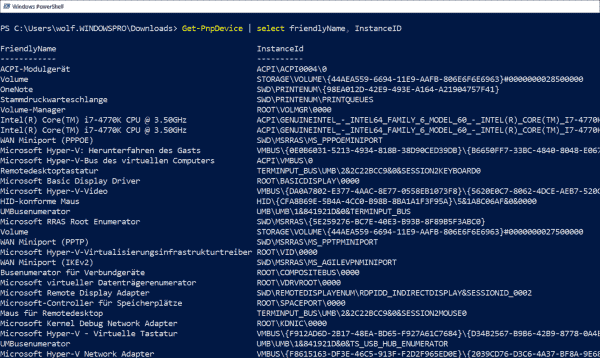 Get instance ID of PnP devices with PowerShell