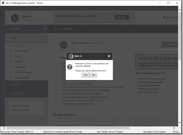 Getting started tasks adding domains to Serv U MFT Server