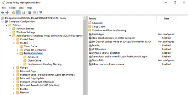 Group Policy settings for FSLogix Profile Container