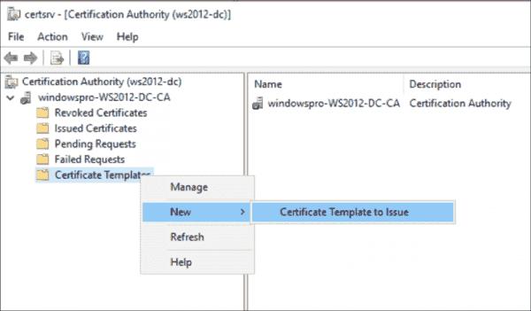 Issue the new template via certsrv.msc