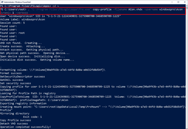 Migrate existing profiles into a VHD(X) container with frx.exe