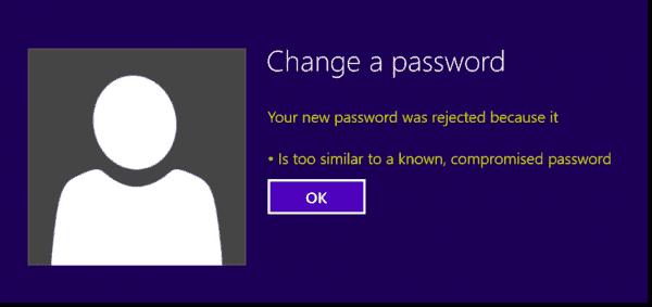 Password change error message