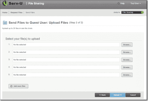 Select files to upload for file sharing