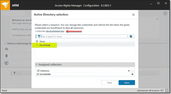 Specifying Active Directory scan parameters in the ARM scan configuration