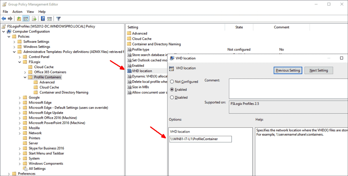Specifying the location for the VHD(X) files via group policies