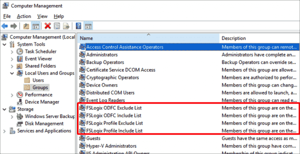 The setup of FSLogix automatically creates four local user groups