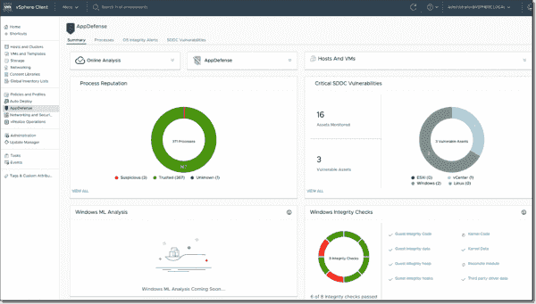 VMware AppDefense summary screen