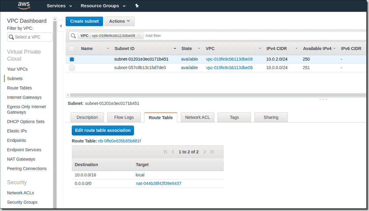 Viewing AWS Subnets in AWS Console
