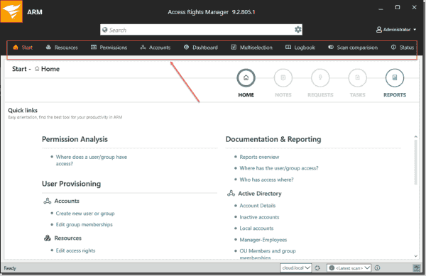 Viewing the Start dashboard in the Access Rights Manager interface