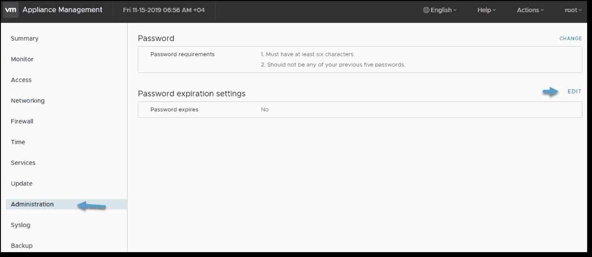 Change password expiration settings