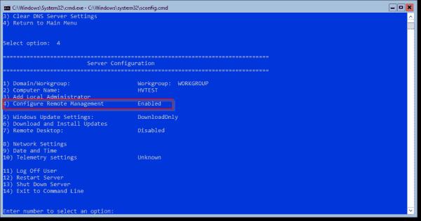 Hyper V Server console