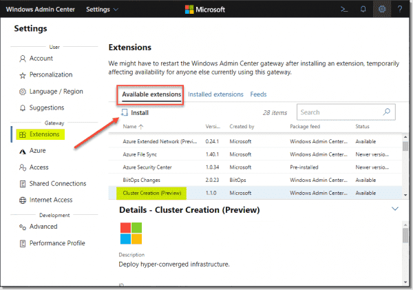 Installing the Windows Admin Center Cluster Creation extension
