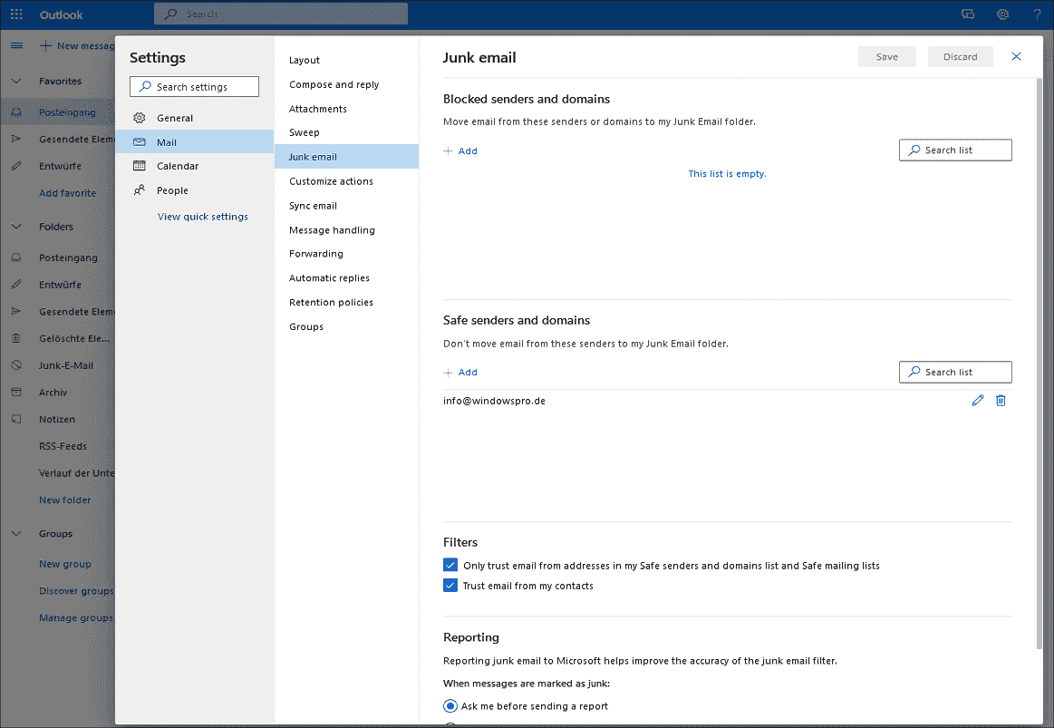 Junk mail filter settings in OWA