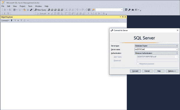 Logging on to SQL Server using SQL Management Studio