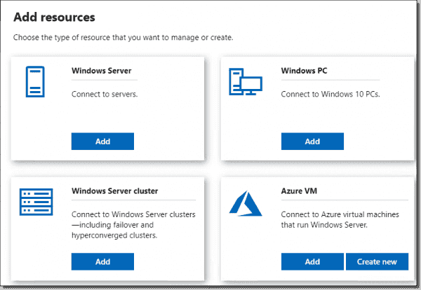 New Add Resources screen in Windows Admin Center 1910