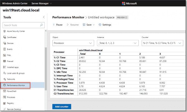 New Windows Admin Center 1910 Performance Monitor