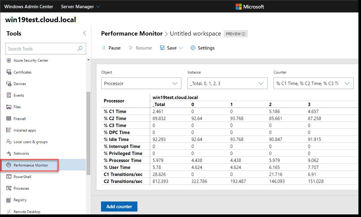New Windows Admin Center 1910 Performance Monitor