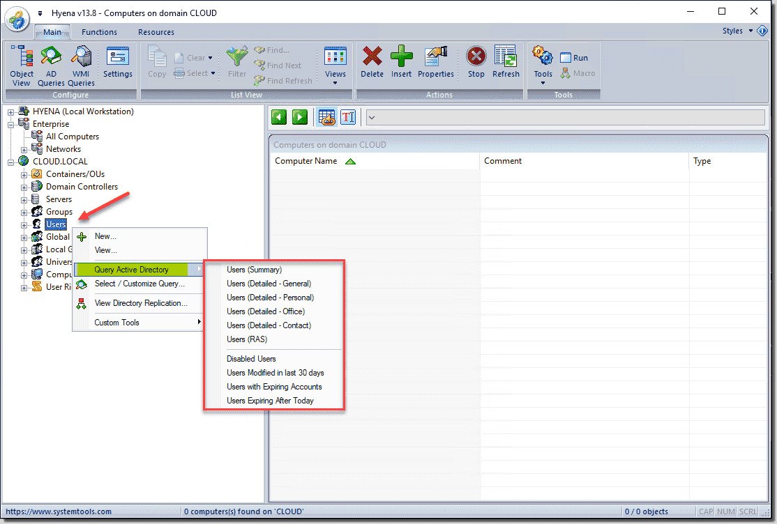 Querying Active Directory users from the Hyena users node