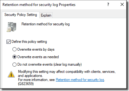 Retention methods for the security log