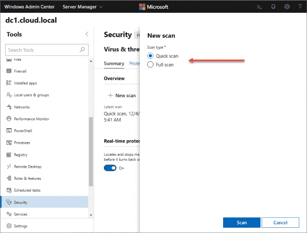 Running a new security scan from Windows Admin Center