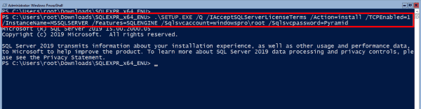 Running setup.exe to install SQL Server 2019 Express