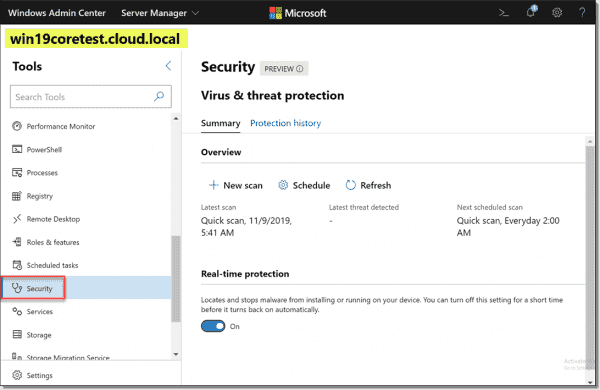 Scanning Windows Server Core with the new Windows Admin Center Security extension