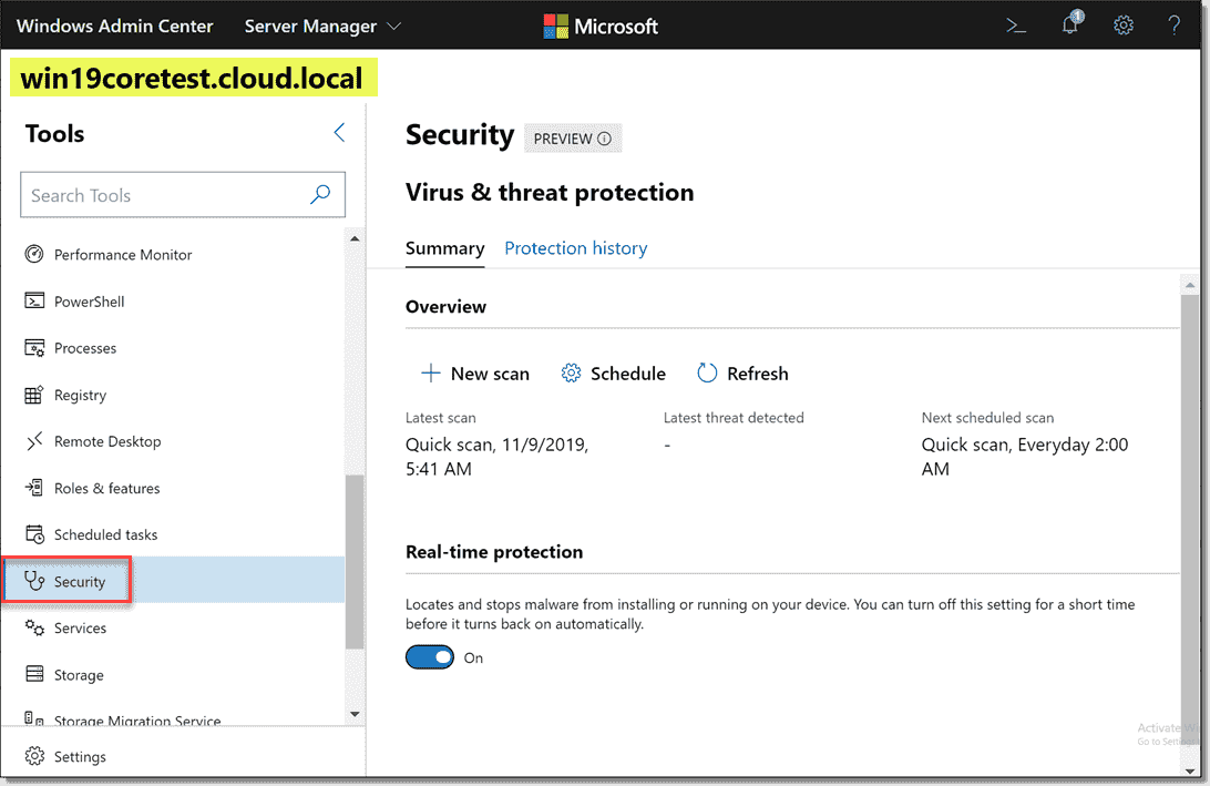 Windows Admin Center security extension
