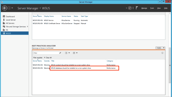 The Best Practices Analyzer recommends not storing the WSUS database on the system drive