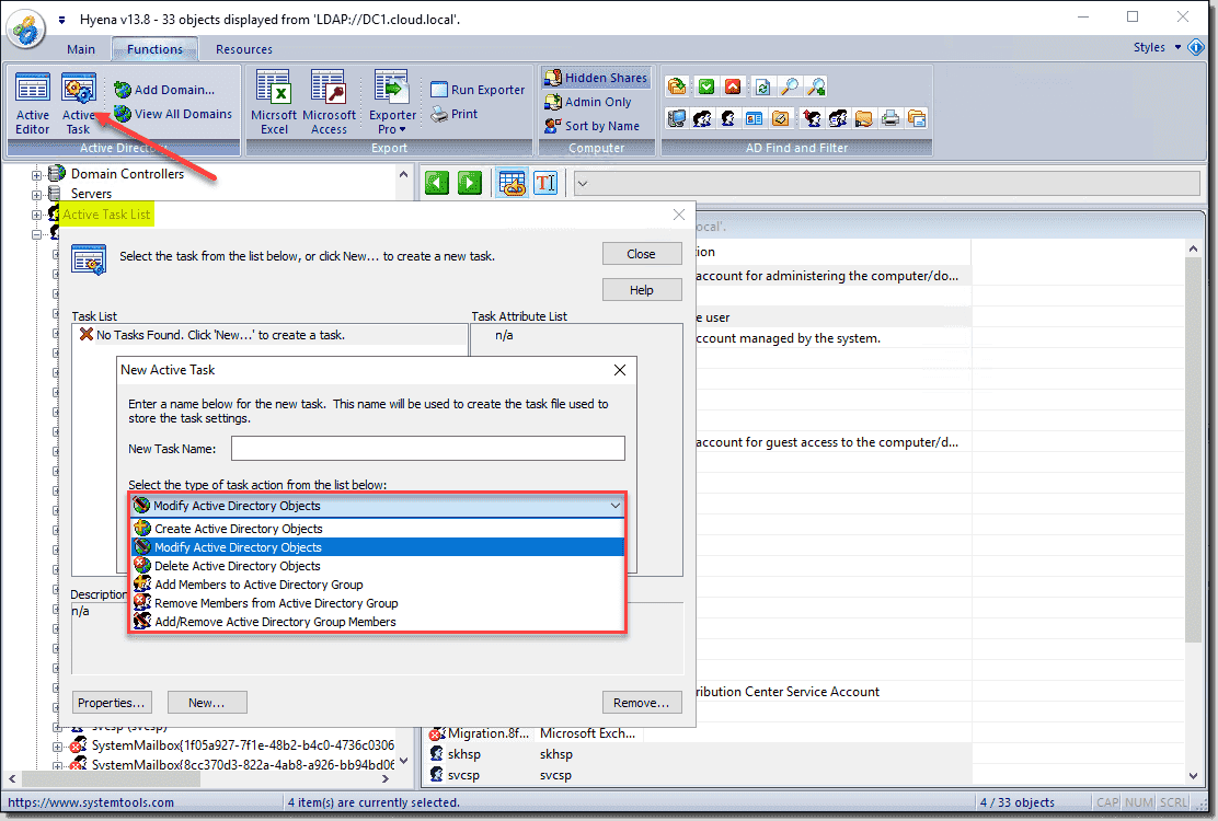 Using Hyena Active Tasks to mass edit Active Directory objects