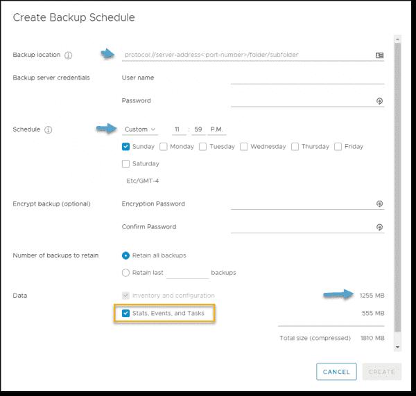 VCSA file level backup options