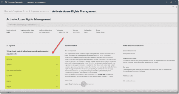 Viewing a recommended improvement action in Compliance Score