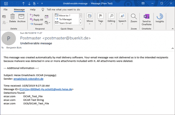 You can check the malware filter by sending an email with content intended for this purpose