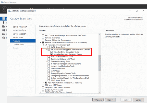 Adding BitLocker tools as a feature via the Server Manager
