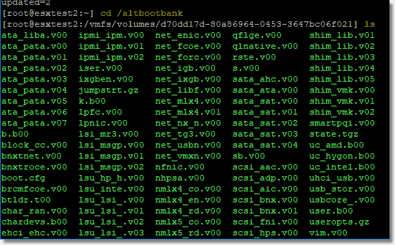 Altbootbank after an upgrade houses the previous ESXi hypervisor boot image version