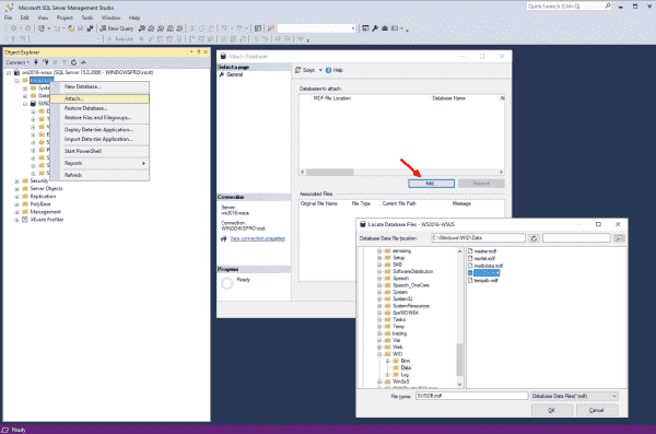 Attaching SUSDB to SQL Server via the graphical SQL Server Management Studio