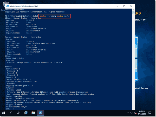 Check the Docker version and info using PowerShell