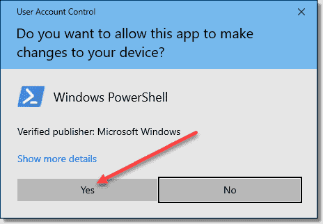 Click Yes in the Windows PowerShell dialog box