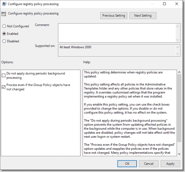 Configure registry policy processing