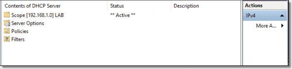 DHCP scope created and activated