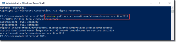 Docker pull from Microsoft MCR of Server Core is successful