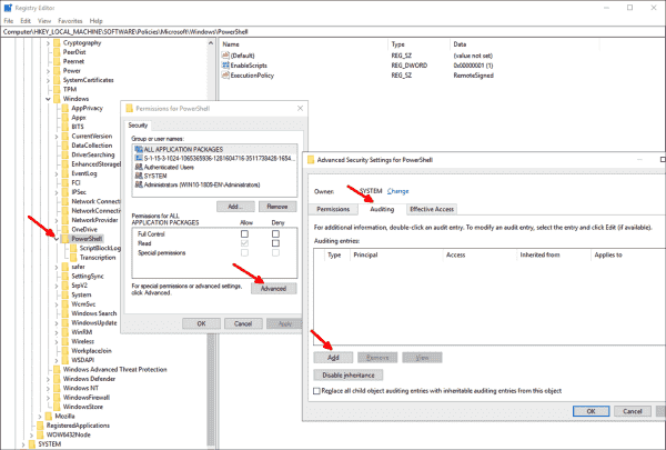 Editing the SACL for registry keys under PowerShell