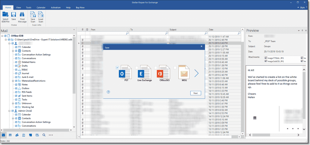 Exporting recovered data