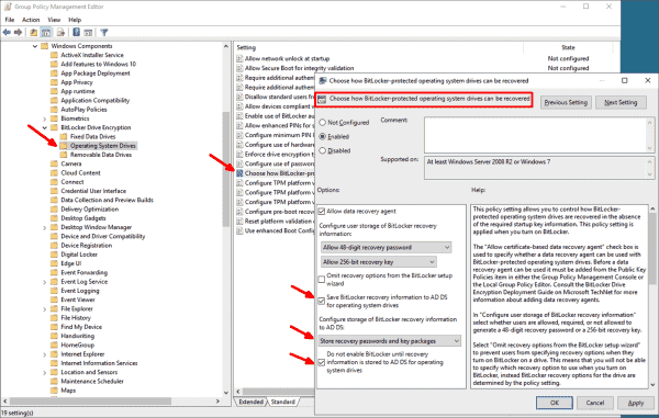 GPO setting to backup recovery keys for system drives in Active Directory