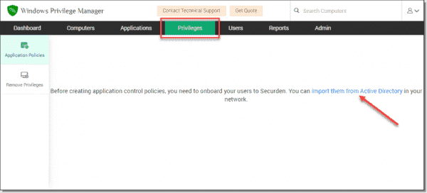 Import users from Active Directory for applying application policies