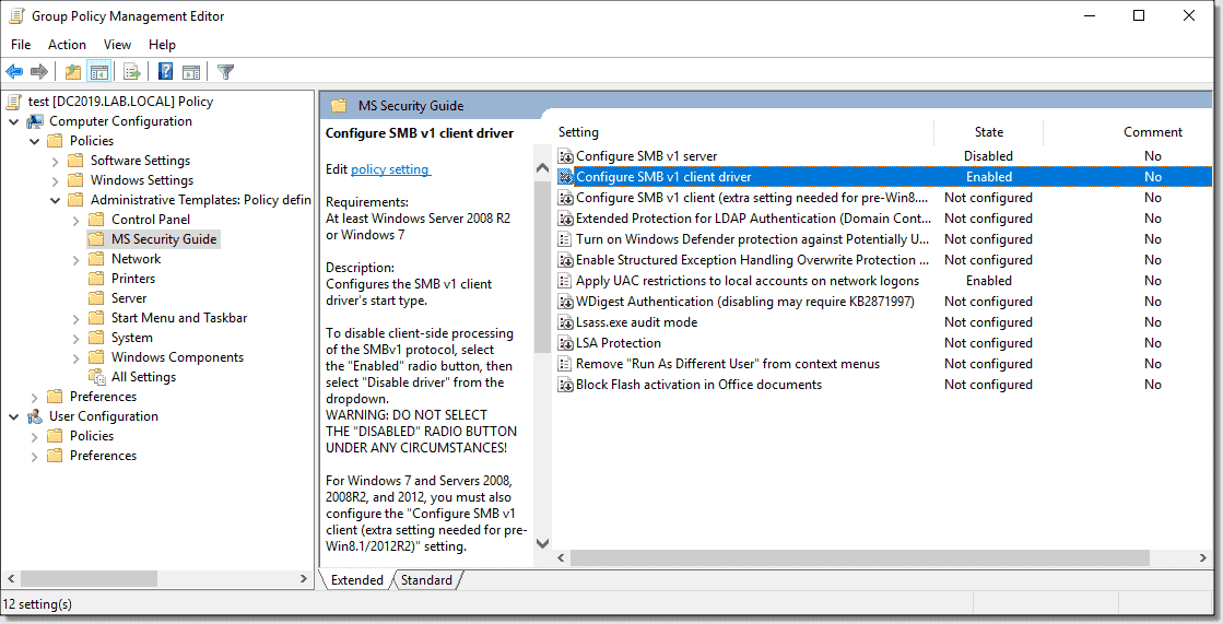 MS Security Guide settings