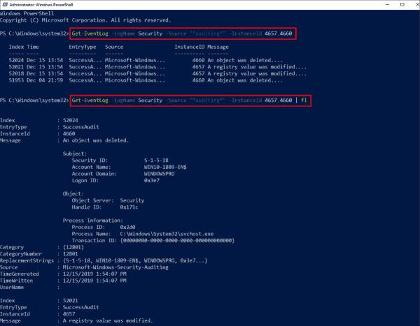 Output audit logs for registration via PowerShell