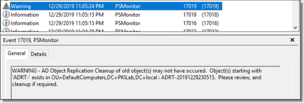 PSADHealth AD object replication test warning